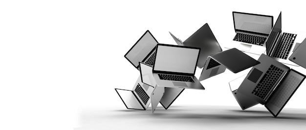 Gruppe des modernen laptops lokalisiert auf weißem hintergrund. 3d-illustration.