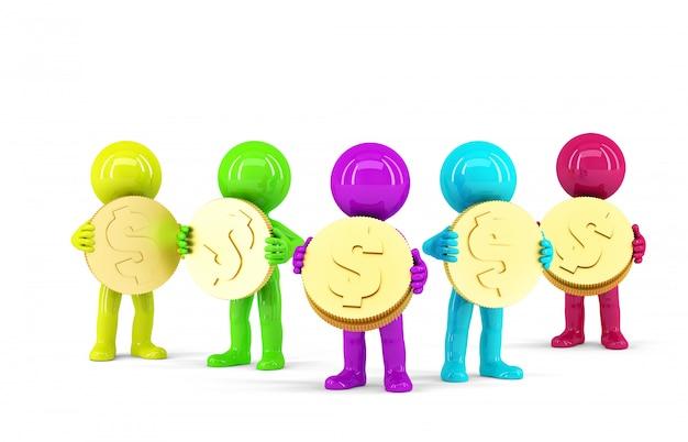 Gruppe farbiger 3d leute, die münzen halten. isoliert. enthält einen beschneidungspfad