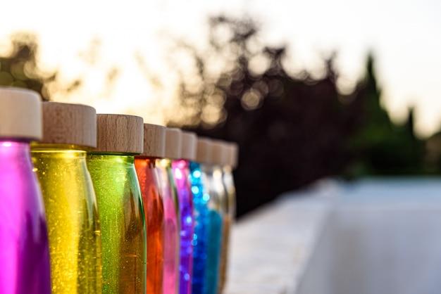 Gruppe flaschen ruhiger antistress, therapie, zum des druckes zu steuern