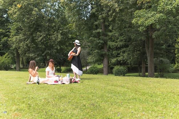 Gruppe freundinnen, die auf dem picknick im park genießen