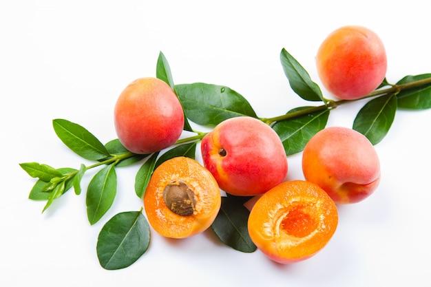 Gruppe frische aprikosen mit blatt
