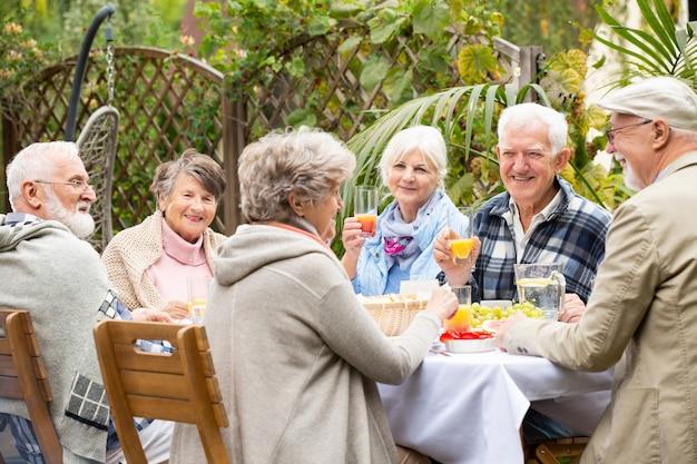 Gruppe glücklicher senioren während der gartenparty
