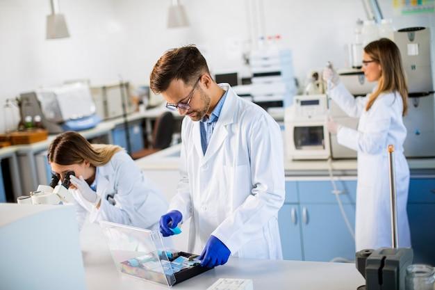 Gruppe junger forscher, die chemische daten im labor analysieren