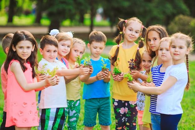 Gruppe kinder, die anlagen in den blumentöpfen anhalten