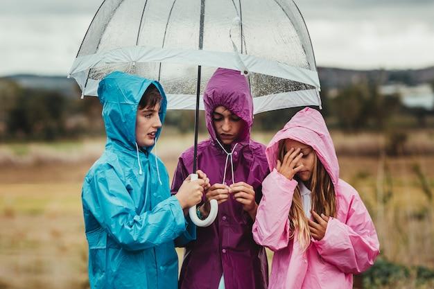 Gruppe kinder kleidete in den regenregenmänteln an, die draußen mit einem regenschirm an einem regnerischen tag auf ihrer feldabenteuerfahrt gehen und spielen