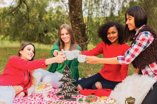 Gruppe multiethnischer freunde stoßen mit weihnachtstee im park an