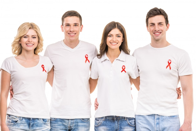 Gruppe positive leute, die aids hiv verhinderung stützen.