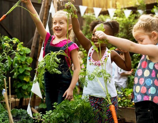 Gruppe verschiedene kinder, die umwelt an der gemüsefarm lernen