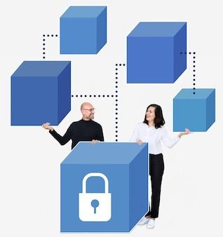 Gruppe verschiedene leute mit blockkettengraphik