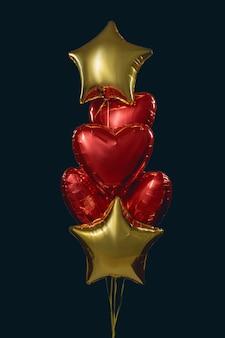 Gruppe von 6 luftfolienballons in form von sternen und herzen, rot und goldfarben
