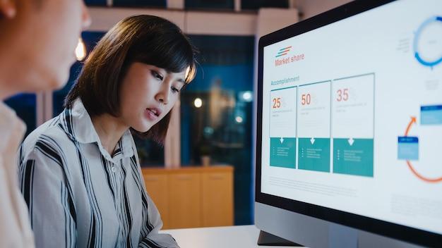 Gruppe von asiatischen geschäftsleuten und geschäftsfrauen, die computerpräsentationen und kommunikationstreffen verwenden, um ideen für brainstorming zu treffen