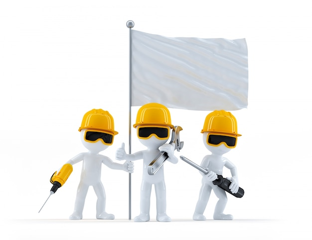 Gruppe von bauarbeiter mit flagge