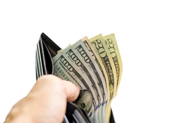 Gruppe von dollarschein in der brieftasche lokalisiert auf weiß