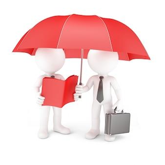 Gruppe von geschäftsleuten mit regenschirm und handbuch