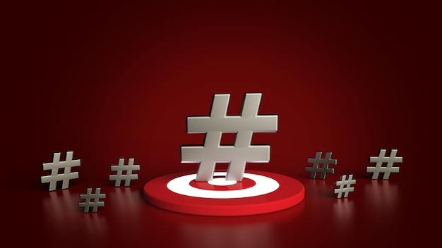Gruppe von hashtag-symbol lokalisiert auf rotem hintergrund. 3d-illustration.