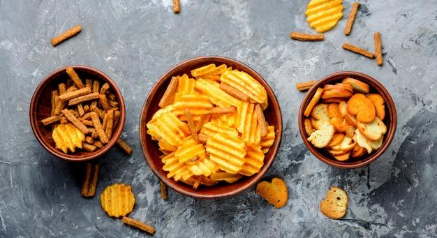 Gruppe von kartoffelchips