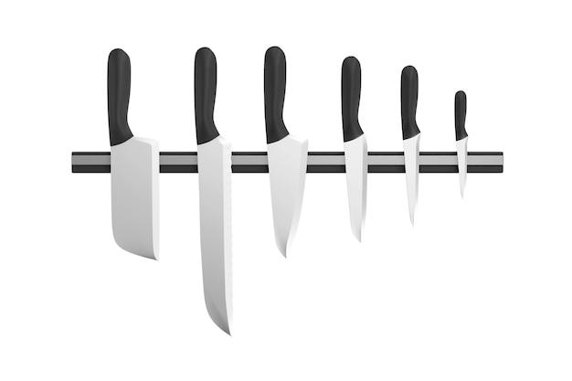 Gruppe von küchenmessern auf einem magnetständer isoliert in 3d-rendering