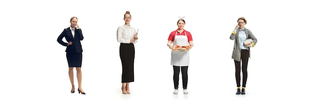 Gruppe von menschen mit verschiedenen berufen isoliert auf weißem studiohintergrund, horizontal. moderne arbeiter verschiedener berufe, weibliche modelle wie buchhalterin, geschäftsfrau, bäckerin, studentin.