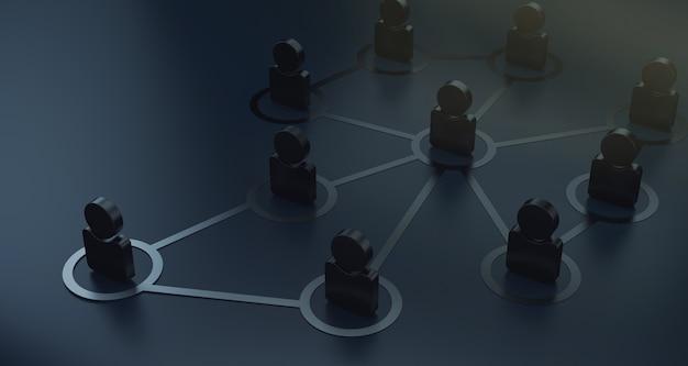 Gruppe von menschen sprechen im sozialen netzwerk 3d render