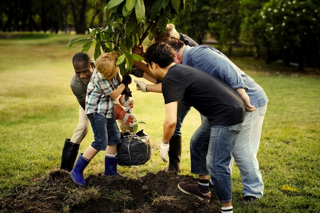 Gruppe von personen, die einen neuen baum pflanzt