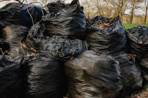 Gruppe von plastiktüten gefüllt mit organischen abfällen aus garten und hof. müllsäcke mit blättern