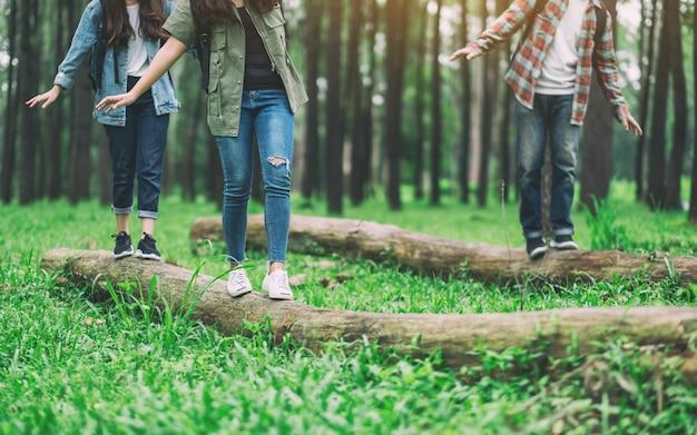 Gruppe von reisenden, die beim wandern im wald auf dem baumstamm spazieren