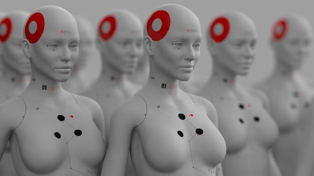 Gruppe von robotern im weiblichen bild, die in reihen stehen, konzept der künstlichen intelligenz und der robotik