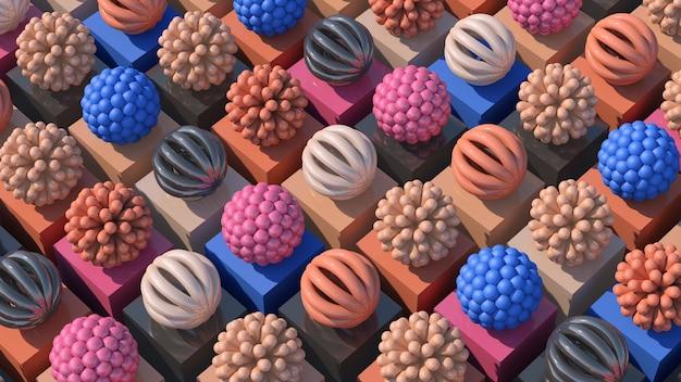 Gruppe von rosa, orange, grauen, blauen abstrakten kugeln. bunte illustration, 3d-rendering.