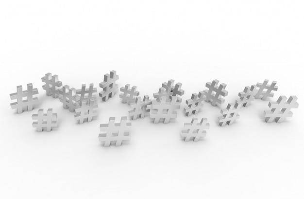 Gruppe von silbernen hashtag-symbol i 3d-illustration.