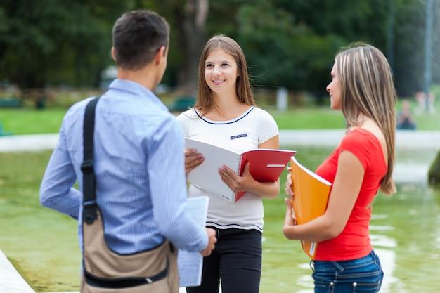 Gruppe von studenten, die im freien sprechen