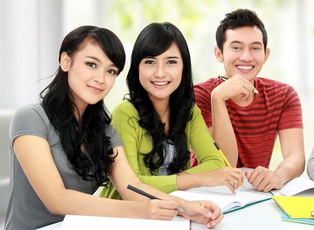 Gruppe von studenten, die zusammen studieren