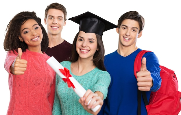 Gruppe von studenten mit büchern im hintergrund