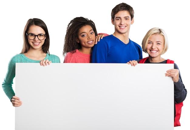 Gruppe von studenten über einem weißen hintergrund isoliert