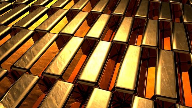 Gruppe von vielen glänzenden goldbarren in einer reihe. busienss gold zukunfts- und finanzkonzept. 3d-illustrations-rendering