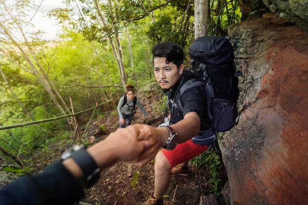 Gruppe wanderer, die oben im wald klettern
