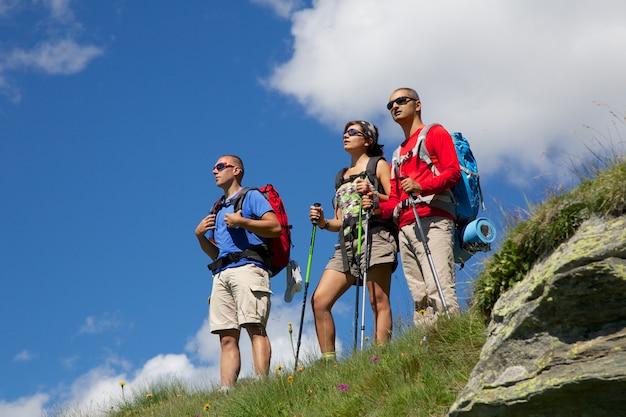 Gruppe wanderer, die panorama schauen