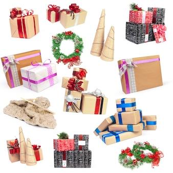 Gruppe weihnachtsgegenstände lokalisiert auf weiß