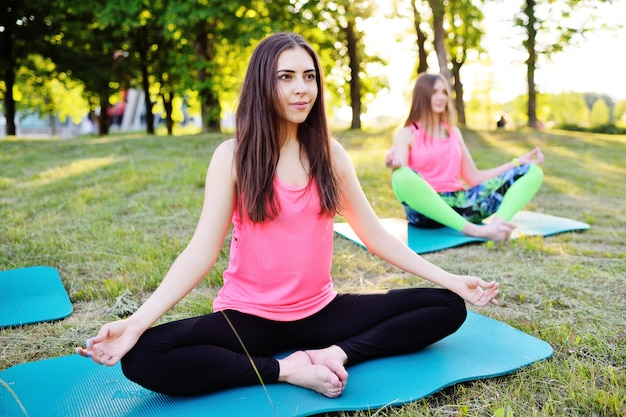 Gruppe yoga - einige junge, schöne mädchen nehmen an eignung auf grünem gras auf sonnenuntergang teil