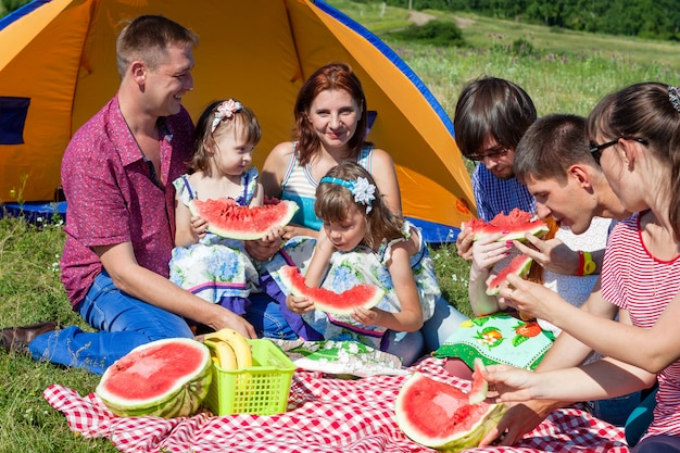 Gruppenporträt im freien der glücklichen gesellschaft, die picknick nahe dem zelt im park und wassermelone genießt