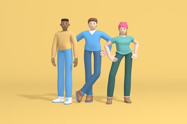 Gruppenporträt zwei männer weiß und hipster mädchen in einem hut