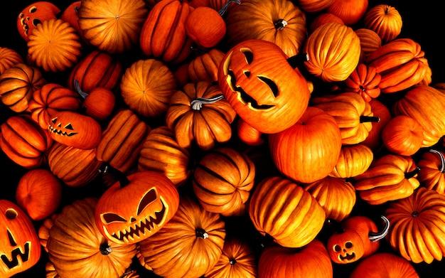 Gruselige kürbislaterne-halloween-kürbise der illustration 3d auf dem markt des landwirts