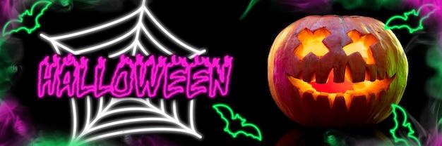 Gruselige kürbisse auf schwarzem hintergrund die nacht der angst helles neon-design mit rosa und