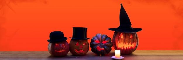 Gruselige kürbisse in hüten, die nacht der angst. feuer flammen und kerzen. halloween