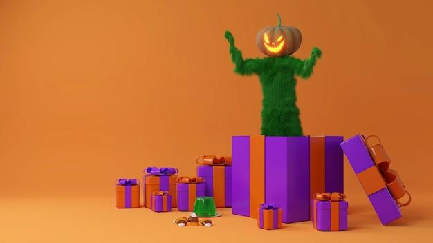 Gruselige pelzige grüne bestie-cartoon-figur, die in geschenkbox posiert., halloween 3d-rendering.