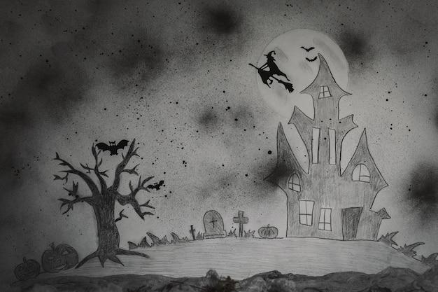 Gruseliger halloween-hintergrund. gemaltes bild. nahaufnahme