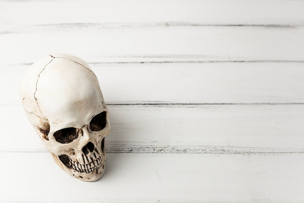 Gruseliger schädel auf weißer tabelle