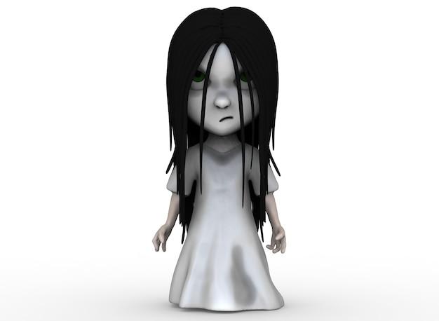 Gruseliges cartoon-charakter-horror-mädchen mit schwarzem haar 3d-rendering.
