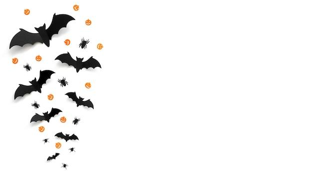 Gruseliges halloween-konzept der draufsicht mit kopienraum