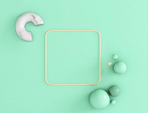 Grußeinladung oder förderungskarte der wiedergabe 3d mit platz für text, goldener rahmen des grünen hintergrundes