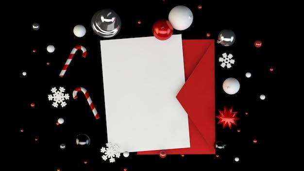 Grußkarte und roter umschlag mit weihnachtsdekorationselementen auf schwarz